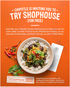 Chipotle and Shophouse promo
